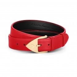 Men Belt - Calfskin - Red -...